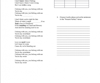 Song Worksheet: Ho Hey by the Lumineers (Present Perfect)