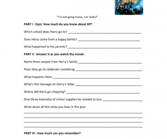 Movie Worksheet: Harry Potter and the Philosopher's Stone ( Simple Past)