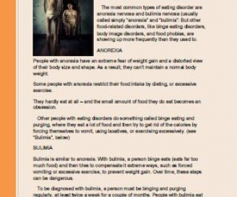 Eating Disorders: Reading Comprehension Worksheet