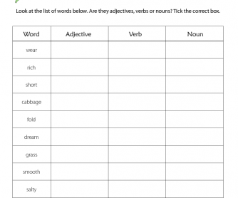 Adjectives, Verbs and Nouns