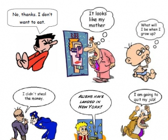 ... indirect speech students look at speech bubbles and match them to