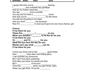 Song Worksheet: I'll Be There For You by Bon Jovi