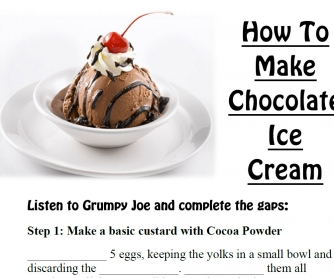 Movie Worksheet: How to Make Chocolate Ice-Cream