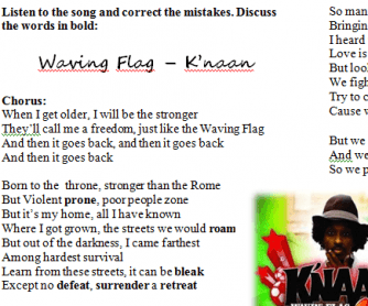 Song Worksheet: Waving Flag by K'naan