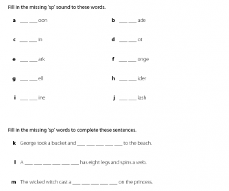 Word Work: Blends - 'Sp'