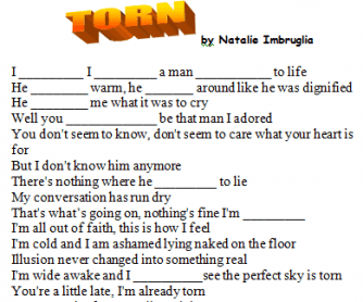 Song Worksheet: Torn by Natalie Imbruglia (with Video)
