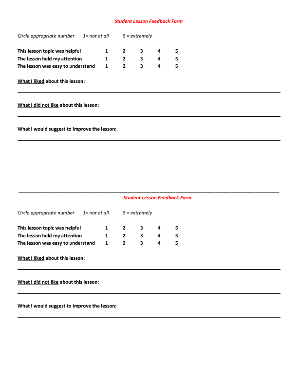 Students Post Lesson Feedback