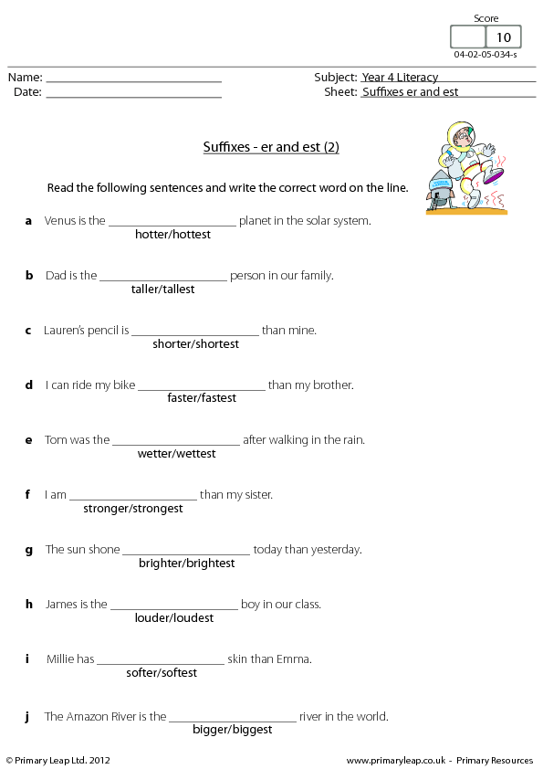 Er and Est 2 – Er Worksheets