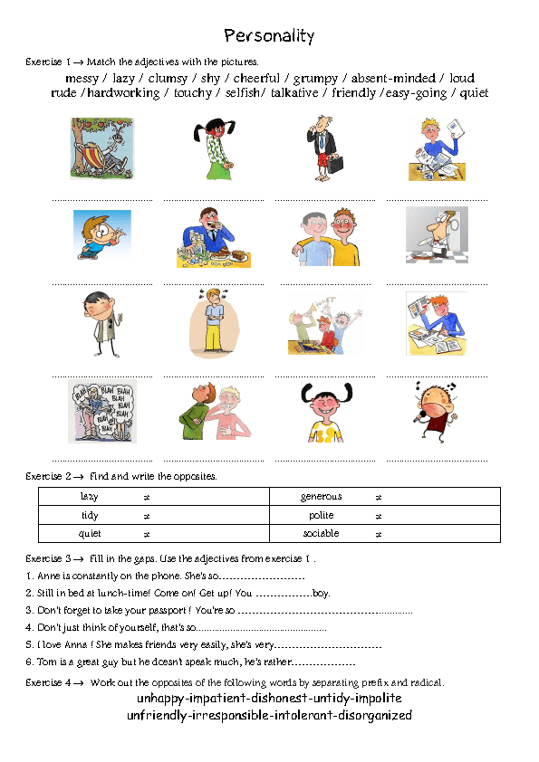 pin personality adjectives worksheet - photo #25