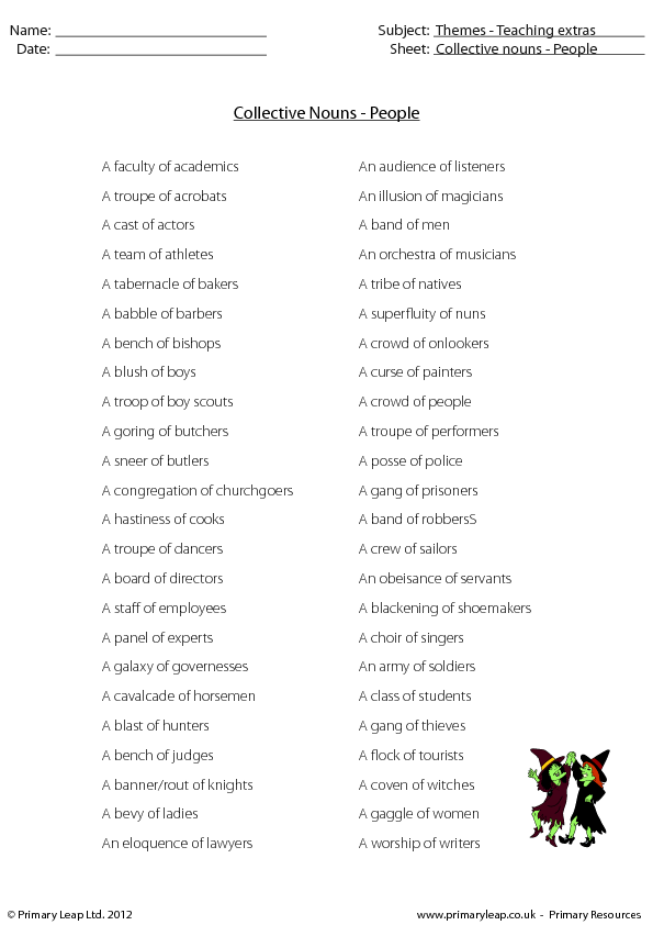 of Collective Nouns People – Collective Nouns Worksheet