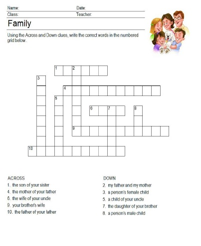 Family Crossword Puzzle