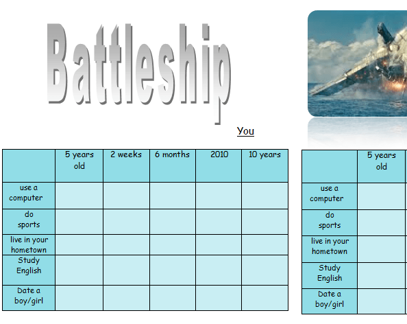 16737 Present Perfect Continuous Battleship on Board Game Worksheet