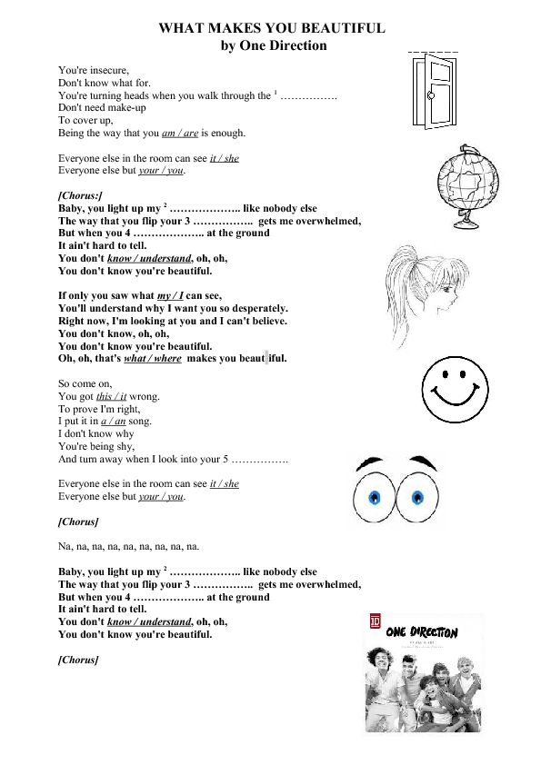 Song Worksheet What Makes You