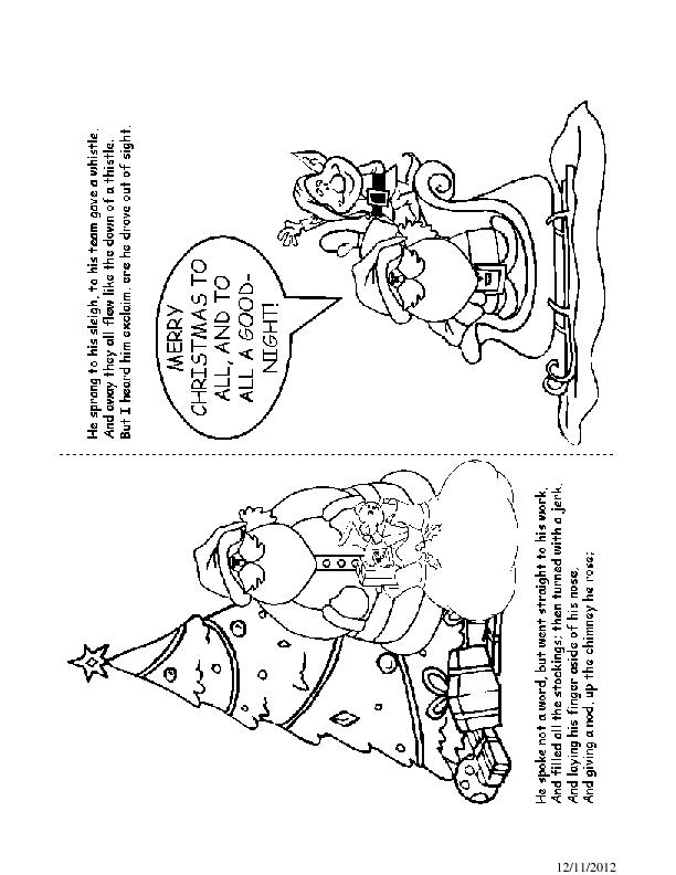Twas the Night before Christmas Coloring Book Pages 13-14