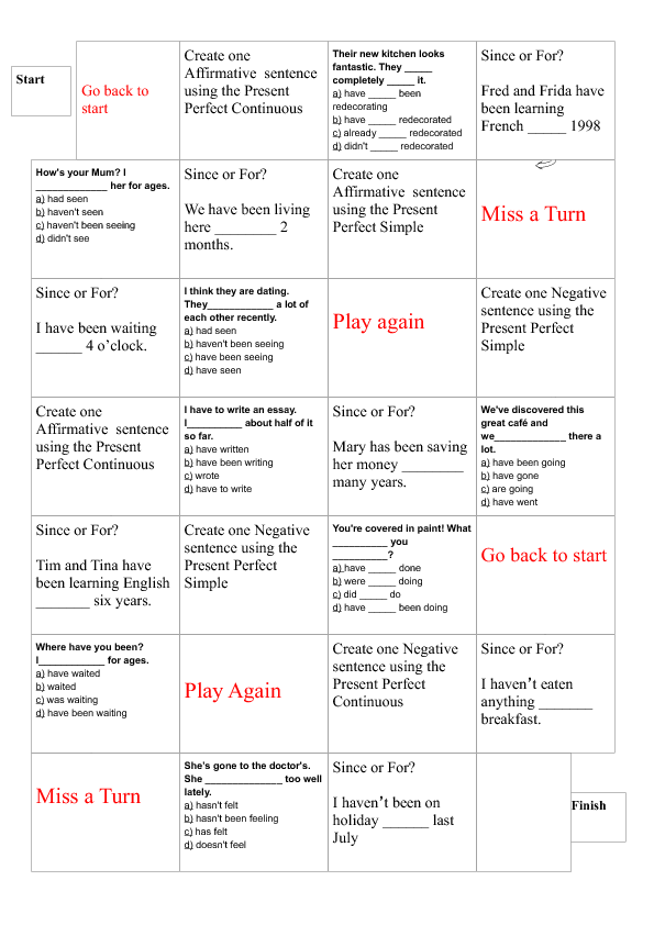 handout to use with intermediate levels (and up) to review pc and ...