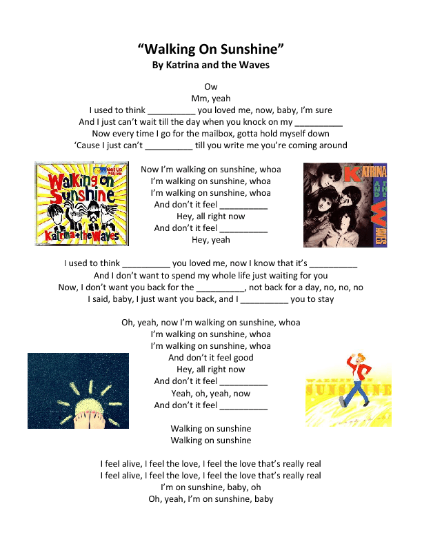 Song Worksheet: Walking On Sunshine by Katrina and the Waves
