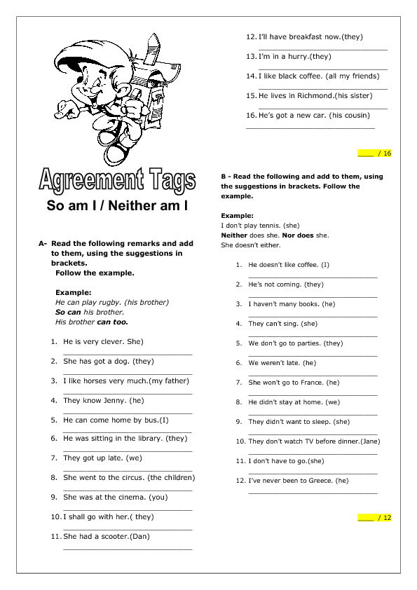 65 FREE Tag Questions Worksheets – Show Don T Tell Worksheet