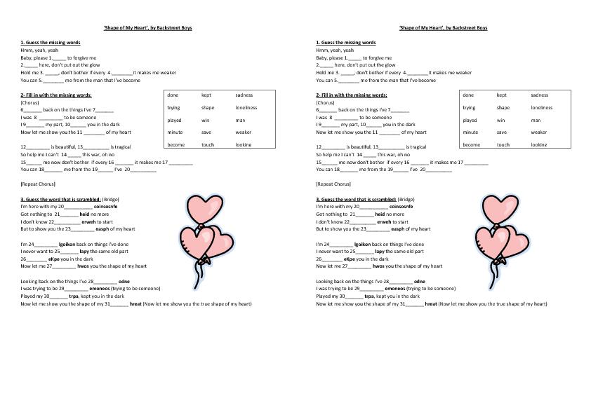 Worksheet Shape of My Heart by Backstreet Boys – Heart Worksheet