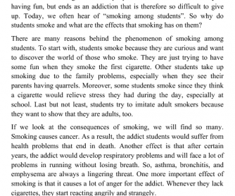 Causes and Effects of Smoking among Students
