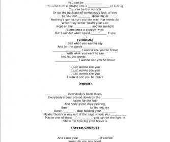 Song Worksheet: Brave by Sara Bareilles
