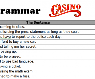 Gerund vs Infinitive Grammar Casino