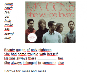 Song Worksheet: She Will Be Loved by Maroon 5 ( with Video)