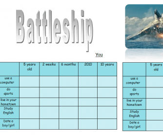 Present Perfect Continuous Battleship