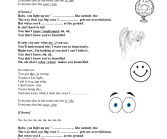 Song Worksheet: What Makes You Beautiful by One Direction