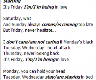 Song Worksheet: Friday I'm in Love by the Cure