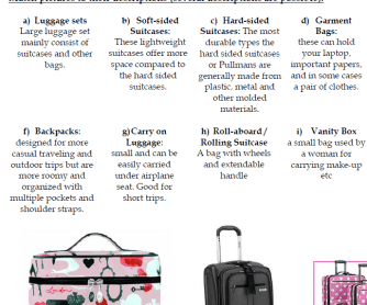 Baggage: Types of Bags