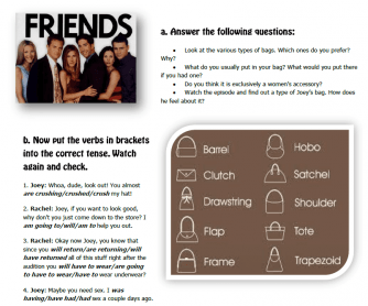 Movie Worksheet: Friends - the One with Joey's Bag