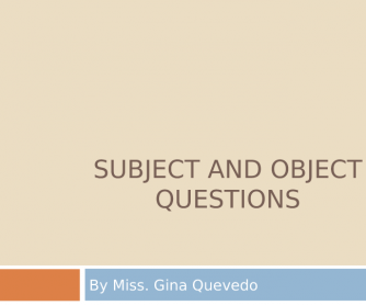 Subject and Object Questions PPT