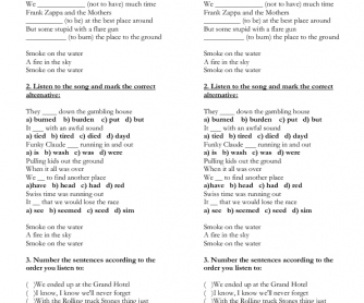 Song Worksheet: Smoke on the Water by Deep Purple