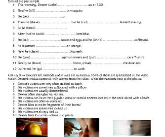 Movie Worksheet: Dexter (Past Simple, Crime)