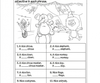 Circus Adjective Worksheet