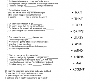 Song Worksheet: I Won't Change You