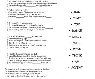 Song Worksheet: I Won't Change You