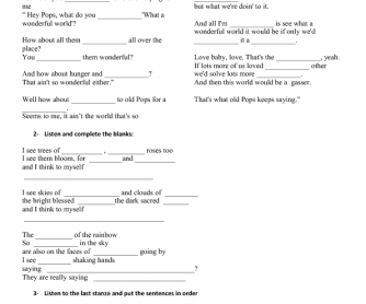 Song Worksheet: What a Wonderful World(Spoken Introduction)