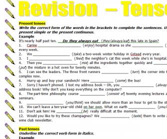 Tenses Revision Worksheet
