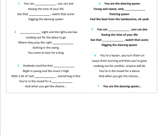 Song Worksheet: Dancing Queen by ABBA