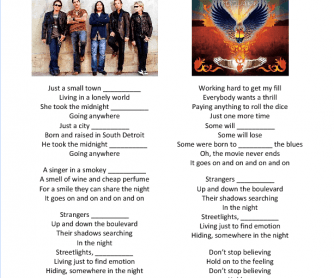 Song Worksheet: Don't Stop Believing by Journey