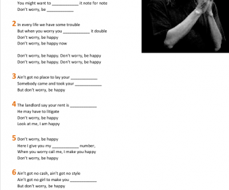 Song Worksheet: Don't Worry Be Happy by Bobby McFerrin