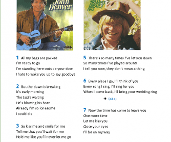 Song Worksheet: Leaving on a Jet Plane by John Denver