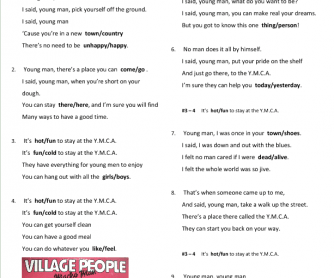 Song Worksheet: YMCA by Village People
