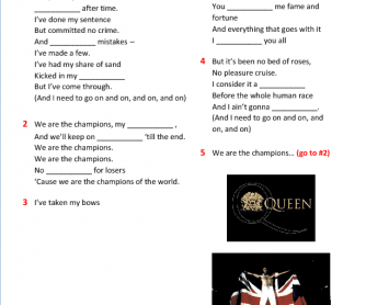 Song Worksheet: We Are the Champions by Queen
