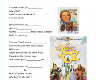 Song Worksheet: Somewhere Over the Rainbow by Judy Garland