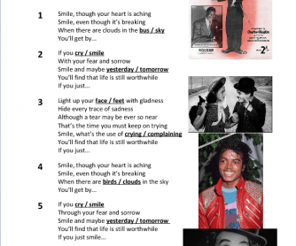 Song Worksheet: Smile by Michael Jackson