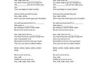 Song Worksheet: Hey Jude by the Beatles
