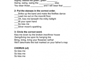 Song Worksheet: Kiss me by Sixpence None the Richer