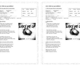 Song Worksheet: Wake Me Up by Amici